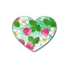 Cute Strawberries Pattern Heart Coaster (4 Pack)  by DanaeStudio