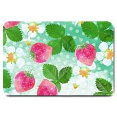 Cute Strawberries Pattern Large Doormat  by DanaeStudio