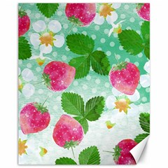 Cute Strawberries Pattern Canvas 11  X 14   by DanaeStudio