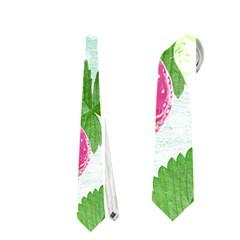 Cute Strawberries Pattern Neckties (one Side)  by DanaeStudio