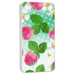 Cute Strawberries Pattern Apple Iphone 4/4s Seamless Case (white) by DanaeStudio