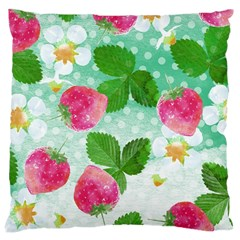 Cute Strawberries Pattern Large Cushion Case (two Sides) by DanaeStudio