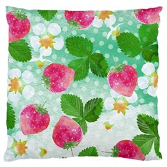 Cute Strawberries Pattern Large Flano Cushion Case (two Sides) by DanaeStudio