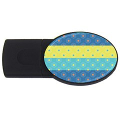 Hexagon And Stripes Pattern Usb Flash Drive Oval (2 Gb)  by DanaeStudio