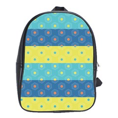 Hexagon And Stripes Pattern School Bags(large)  by DanaeStudio