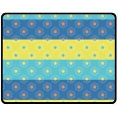 Hexagon And Stripes Pattern Fleece Blanket (medium)  by DanaeStudio