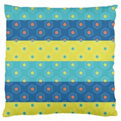 Hexagon And Stripes Pattern Large Cushion Case (two Sides) by DanaeStudio