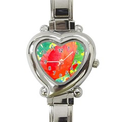 Lovely Red Poppy And Blue Dots Heart Italian Charm Watch by DanaeStudio