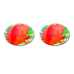 Lovely Red Poppy And Blue Dots Cufflinks (oval) by DanaeStudio