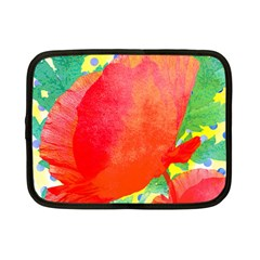 Lovely Red Poppy And Blue Dots Netbook Case (small)  by DanaeStudio