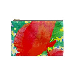 Lovely Red Poppy And Blue Dots Cosmetic Bag (medium)  by DanaeStudio