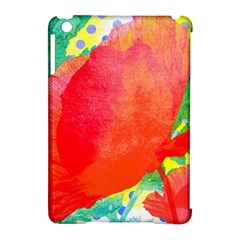 Lovely Red Poppy And Blue Dots Apple Ipad Mini Hardshell Case (compatible With Smart Cover) by DanaeStudio