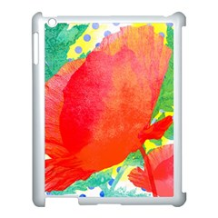 Lovely Red Poppy And Blue Dots Apple Ipad 3/4 Case (white) by DanaeStudio