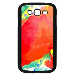 Lovely Red Poppy And Blue Dots Samsung Galaxy Grand Duos I9082 Case (black) by DanaeStudio