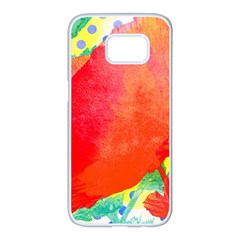 Lovely Red Poppy And Blue Dots Samsung Galaxy S7 Edge White Seamless Case by DanaeStudio