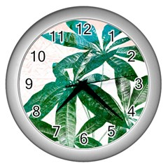 Pachira Leaves  Wall Clocks (silver)  by DanaeStudio