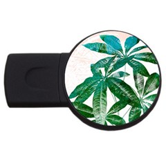 Pachira Leaves  Usb Flash Drive Round (4 Gb)  by DanaeStudio