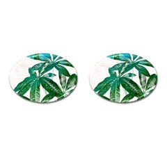 Pachira Leaves  Cufflinks (oval) by DanaeStudio