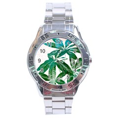Pachira Leaves  Stainless Steel Analogue Watch by DanaeStudio