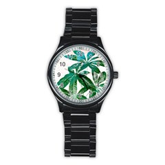Pachira Leaves  Stainless Steel Round Watch by DanaeStudio