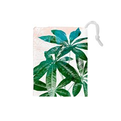 Pachira Leaves  Drawstring Pouches (small)  by DanaeStudio