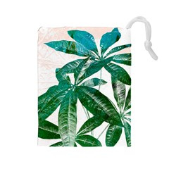 Pachira Leaves  Drawstring Pouches (large)  by DanaeStudio