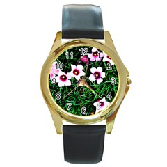 Pink Flowers Over A Green Grass Round Gold Metal Watch by DanaeStudio