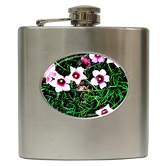 Pink Flowers Over A Green Grass Hip Flask (6 Oz) by DanaeStudio