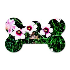 Pink Flowers Over A Green Grass Dog Tag Bone (two Sides) by DanaeStudio