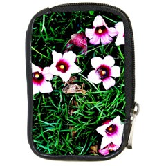 Pink Flowers Over A Green Grass Compact Camera Cases by DanaeStudio