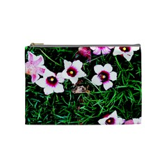 Pink Flowers Over A Green Grass Cosmetic Bag (medium)  by DanaeStudio