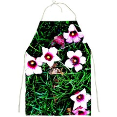 Pink Flowers Over A Green Grass Full Print Aprons by DanaeStudio