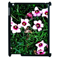 Pink Flowers Over A Green Grass Apple Ipad 2 Case (black) by DanaeStudio