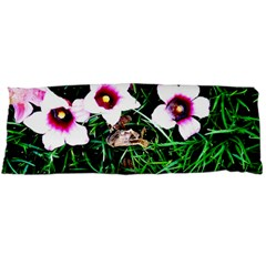Pink Flowers Over A Green Grass Body Pillow Case (dakimakura) by DanaeStudio