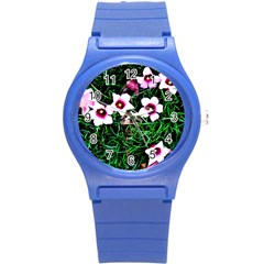 Pink Flowers Over A Green Grass Round Plastic Sport Watch (s) by DanaeStudio