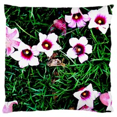 Pink Flowers Over A Green Grass Large Cushion Case (two Sides) by DanaeStudio