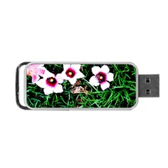 Pink Flowers Over A Green Grass Portable Usb Flash (one Side) by DanaeStudio