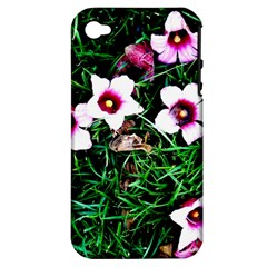 Pink Flowers Over A Green Grass Apple Iphone 4/4s Hardshell Case (pc+silicone) by DanaeStudio