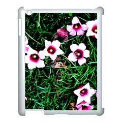 Pink Flowers Over A Green Grass Apple Ipad 3/4 Case (white) by DanaeStudio