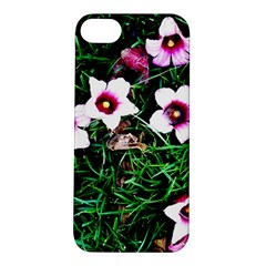Pink Flowers Over A Green Grass Apple Iphone 5s/ Se Hardshell Case by DanaeStudio