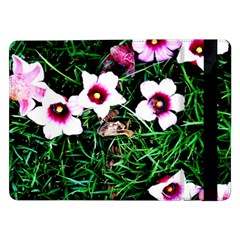 Pink Flowers Over A Green Grass Samsung Galaxy Tab Pro 12 2  Flip Case by DanaeStudio
