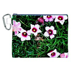 Pink Flowers Over A Green Grass Canvas Cosmetic Bag (xxl) by DanaeStudio