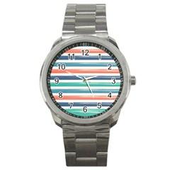 Summer Mood Striped Pattern Sport Metal Watch by DanaeStudio
