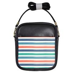 Summer Mood Striped Pattern Girls Sling Bags by DanaeStudio