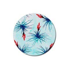 Tillansia Flowers Pattern Rubber Round Coaster (4 Pack)  by DanaeStudio