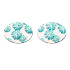 Turquoise Citrus And Dots Cufflinks (oval) by DanaeStudio