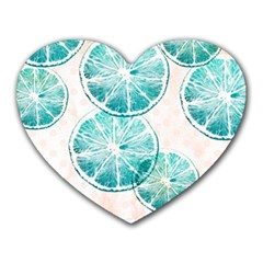 Turquoise Citrus And Dots Heart Mousepads by DanaeStudio
