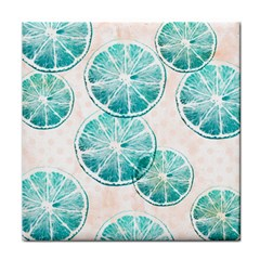 Turquoise Citrus And Dots Face Towel by DanaeStudio