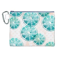 Turquoise Citrus And Dots Canvas Cosmetic Bag (xxl) by DanaeStudio