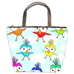 Cute Colorful Birds  Bucket Bags by Valentinaart